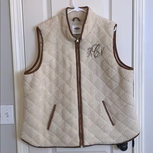 Faux Shearling Quilted Vest with Monogram Sz XXL